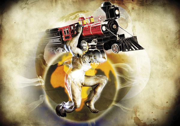 Infographiste Freelance - Photomontage - Hercule et le train